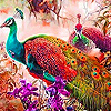 Colorful peacocks in the woods puzzle