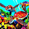 Colorful turtles slide puzzle