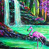Flamingo in waterfall slide puzzle
