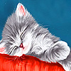 Gray sleepy kitty slide puzzle