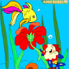 Kid's coloring: Cute little fish