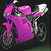 Pink fast motorbike slide puzzle