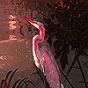 Pink heron in the lake slide puzzle