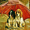 Red umbrella and dogs slide puzzle