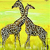 Sweet couple giraffe slide puzzle