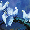 White doves on the tree slide puzzle